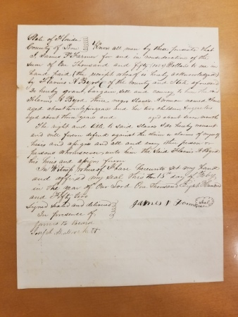 Bill of Sale regarding enslaved people from the Dr. F.A. Byrd Collection