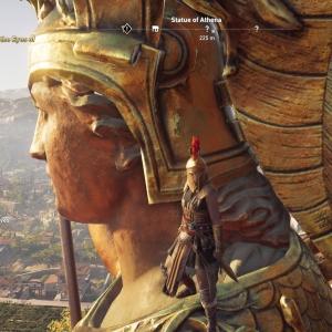 On Athena's shoulder