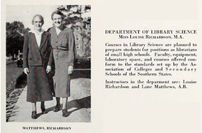 Excerpt from 1935 Flastacowo, Department of Library Science