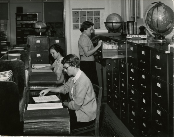 Library science students studying, circa 1950s