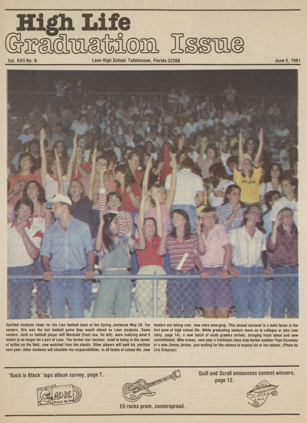 High Life Graduation Issue Front Page, June 5, 1981