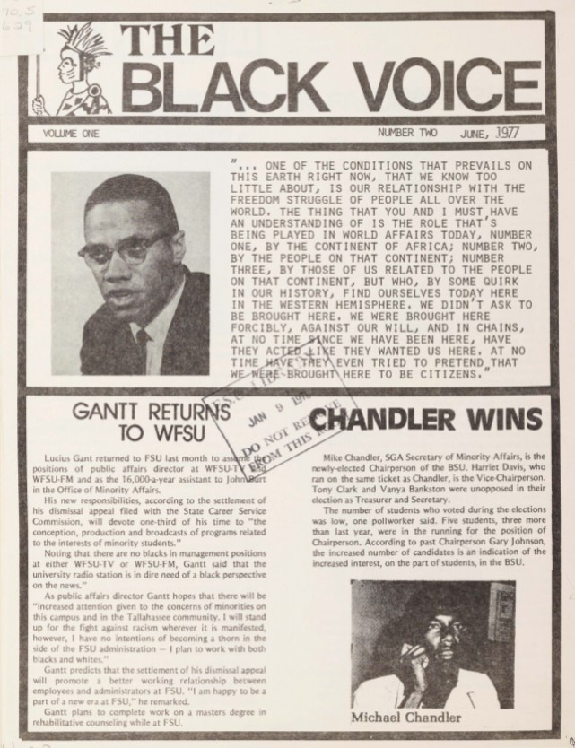 The cover of The Black Voice: June 1977. Volume I. Number II.