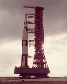 Photograph of Saturn V Moon Rocket.