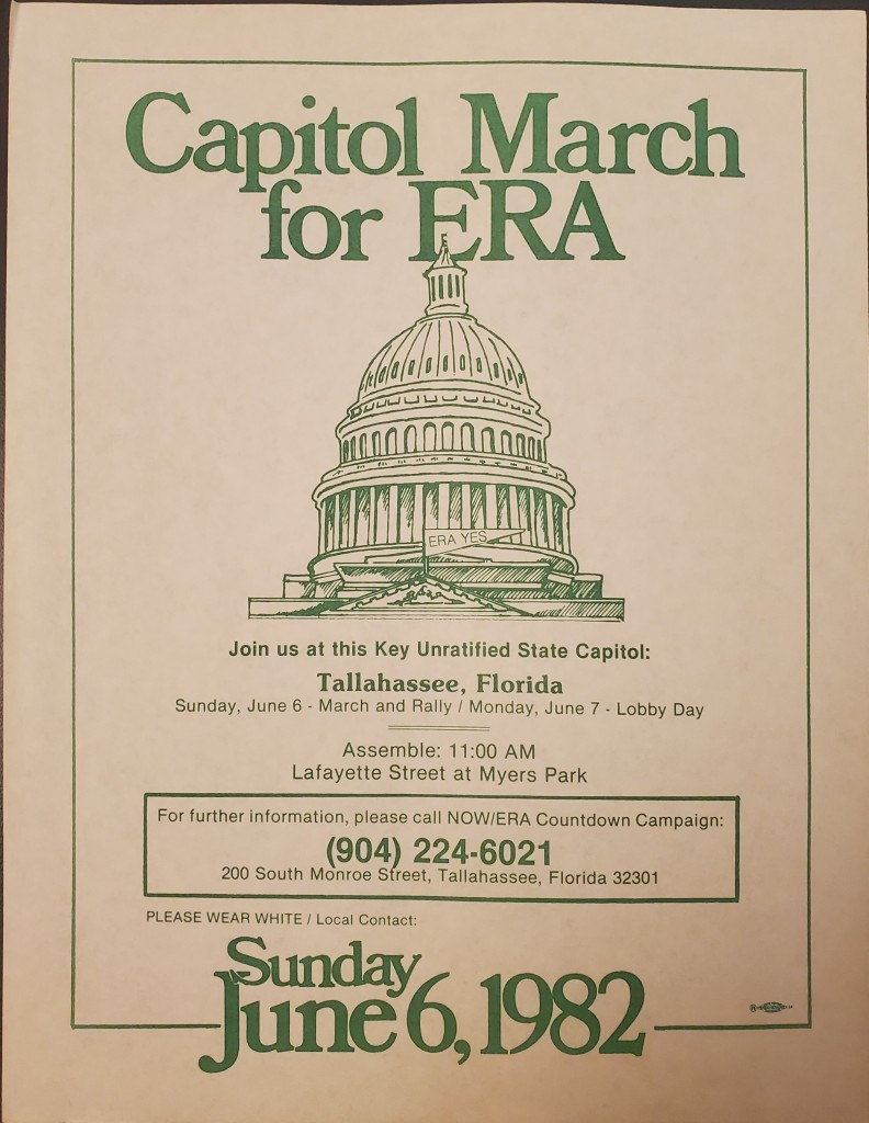 Flyer with general information about the Equal Rights Amendment Capitol March in Tallahassee on June 8, 1982.