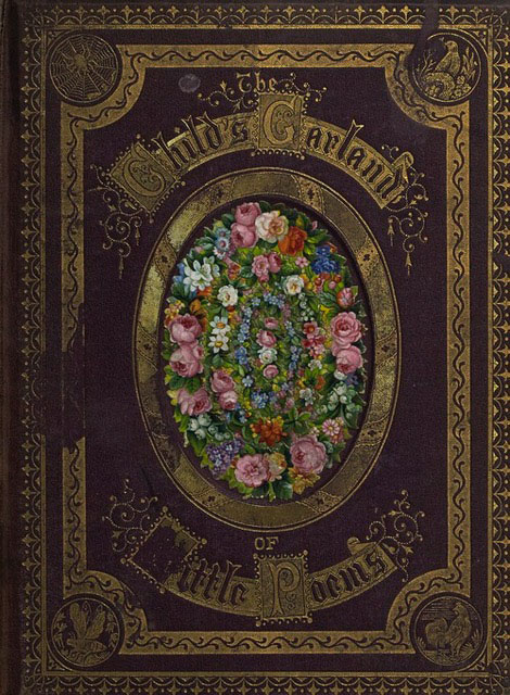 Cover of a book decorated with colorful flowers and gold details.